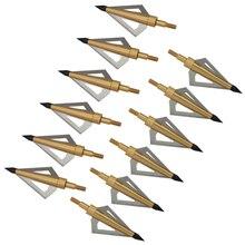 12pcs 125 그레인 스테인레스 스틸 양궁 브로드 헤드 샤프 애로우 헤드 사냥 화살표 복합물 활과 석궁 촬영을위한 팁