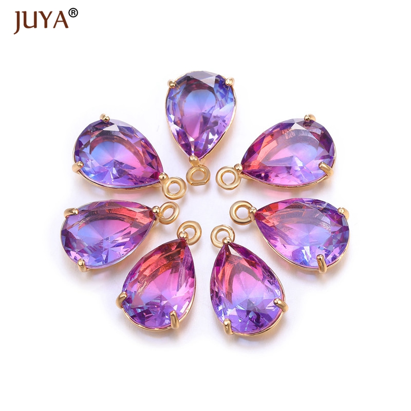 Supplies For Jewelry Shining Zircon Crystal Charm Pendants for Diy Earrings Findings Necklace Charms Accessories Materials