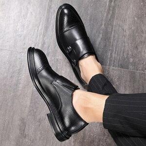 Image 5 - メンズドレスシューズレザーフォーマルレジャービジネスメンズオックスフォード靴結婚式パーティーブローグシューズ