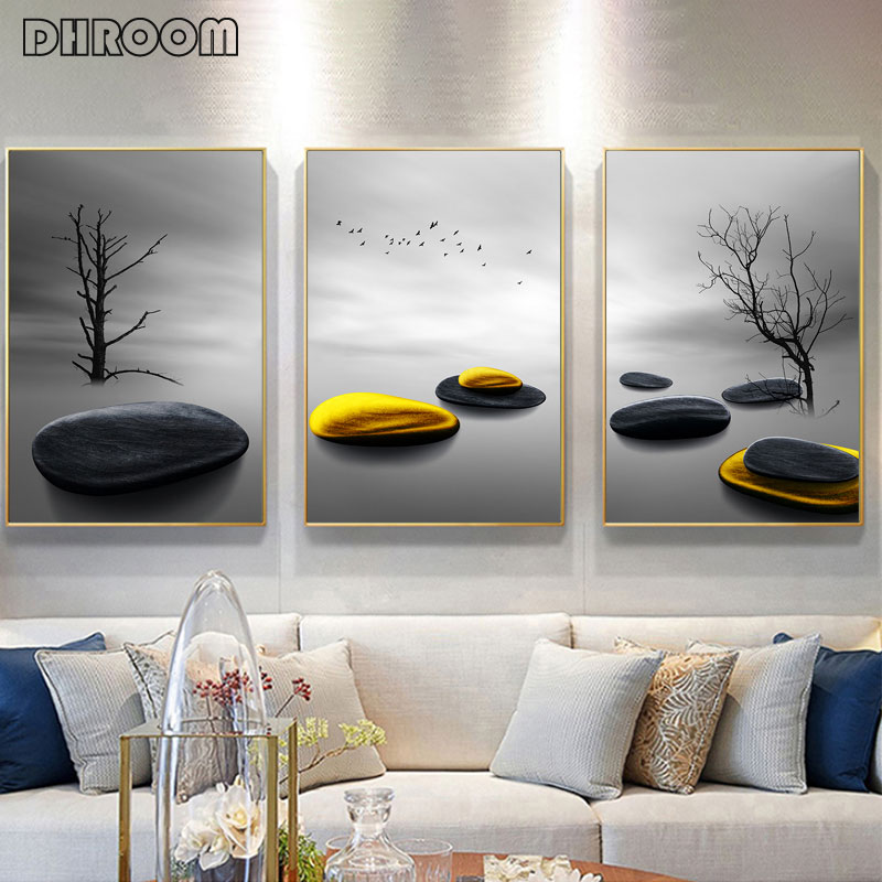 Modern Minimalist Landscape Prints Trees And Birds Poster Nordic Golden Stone Canvas Painting Wall Art Picture Living Room Decor