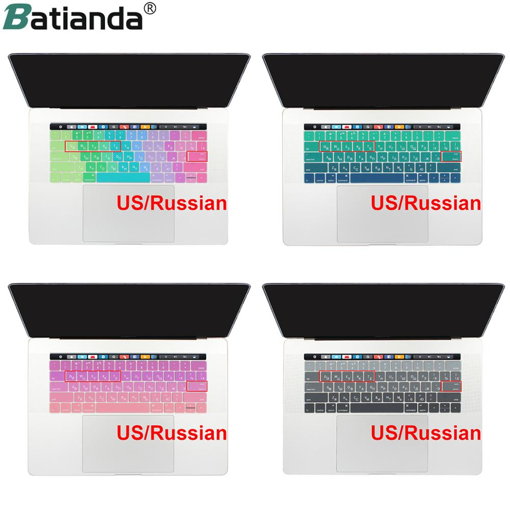 Russian Layout Keyboard Cover Skin for MacBook Pro 13 15 with Touch Bar for New Pro 2016 2017 2018 2019 A1706 A1707 - US Enter image