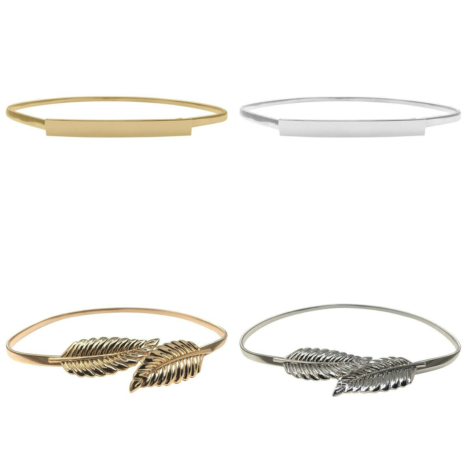 Hot Sale Womens Ladies Fashion Gold Leaves Metal Elastic Thin Skinny Belt Waist Band 2 Styles