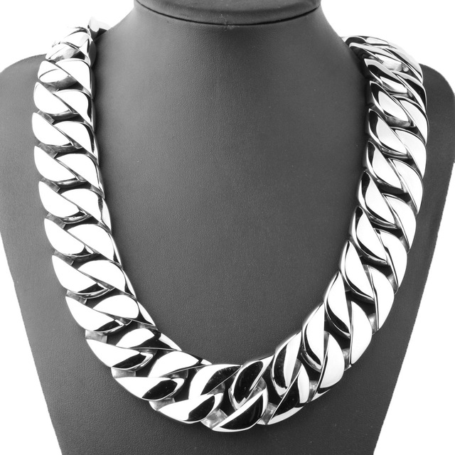 31MM Wide Shiny Cuba Big Necklace Men Hip Hop Stainless Steel Jewelry Hand polished Casting Bracelet Hiphop Tide Jewelry