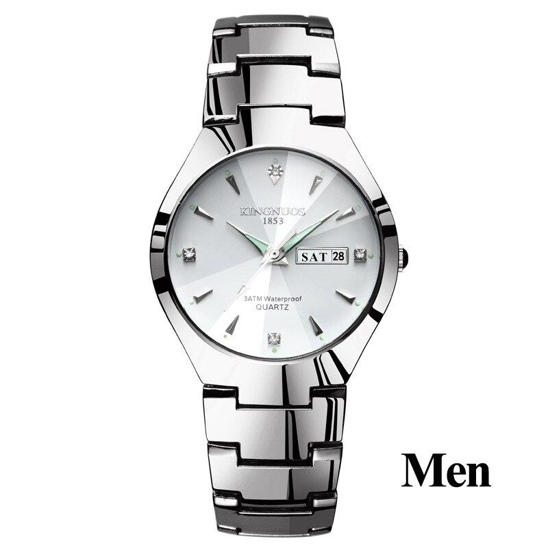 Часы для влюбленных Роскошные Кварцевые наручные часы для мужчин и женщин Hodinky Dual Calender Week steel Saat Reloj Mujer Hombre парные часы - Цвет: Men Silver White