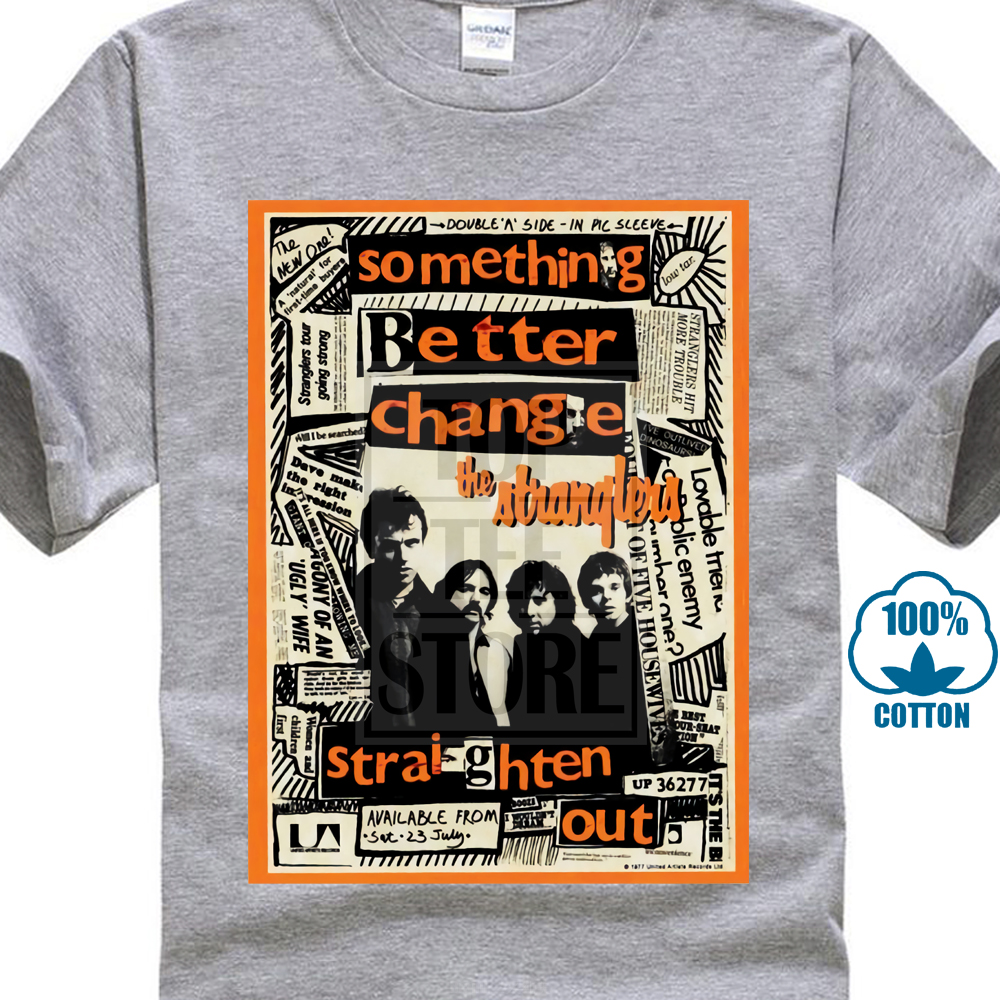 MENS PUNK T-SHIRT THE STRANGLERS SOMETHING BETTER CHANGE STRAIGHTEN OUT S-5XL