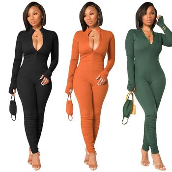 Solid Color Skinny Sexy Deep V-Neck Long Sleeve Stacked Pants Bodycon Jumpsuits Women Winter Clothes Fashion Casual Rompers 2020 autumn winter casual jumpsuits women rompers solid sexy long sleeve o neck bodysuit bodycon rompers women bodysuits romper