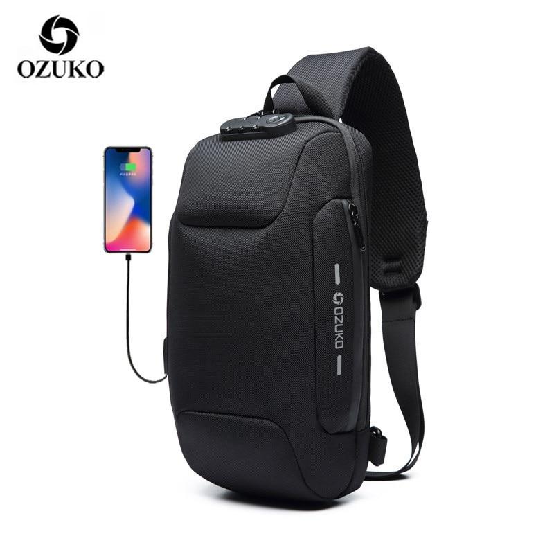OZUKO 2019 New Multifunction Crossbody Bag For Men Anti-theft Shoulder Messenger Bags Male Waterproof Short Trip Chest Bag Pack