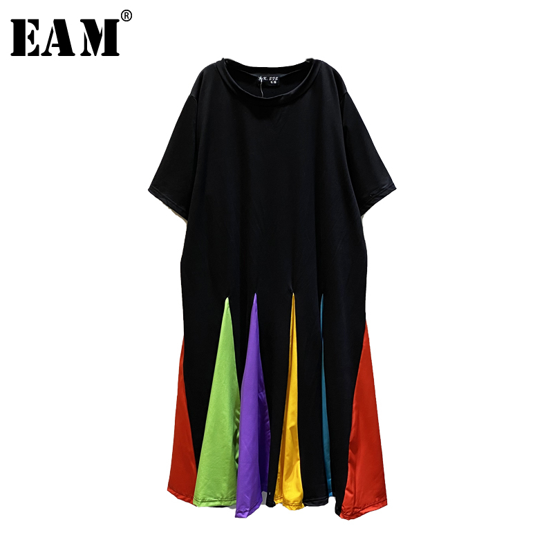 [EAM] Women Black Colorful Hem Split Big Size Long Dress New Round Neck Short Sleeve Loose Fit Fashion Spring Summer 2020 1U506