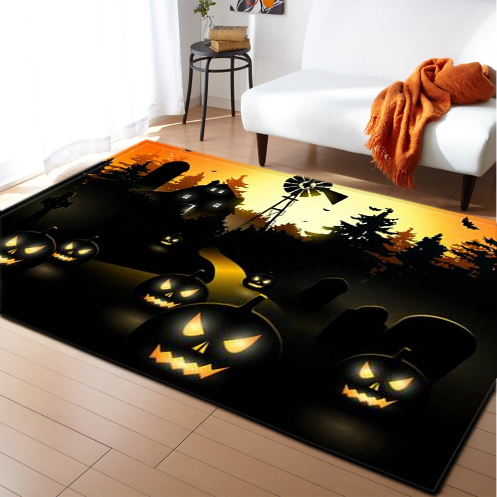 Halloween Party Decor Area Rugs Children Play Mat Home Decor Bedside Rugs Soft Flannel Memory Foam Non slip Carpet Living Room