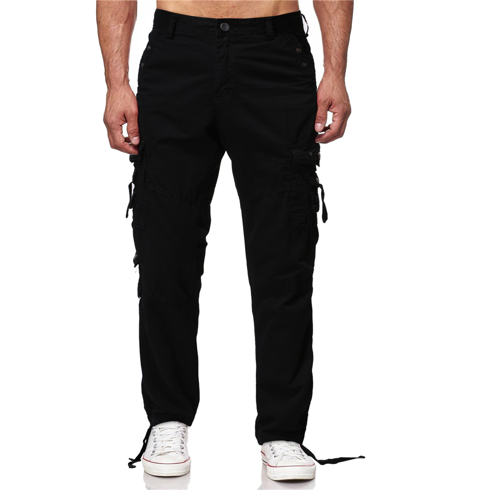 Europe And America Large Size Loose Casual Pants Multi-pockets Military Style Washing Straight Women Bib Overall Men's F380