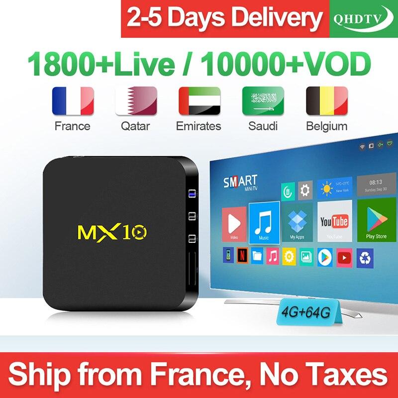 Arabic IPTV Box MX10 4G 64G Belgium Netherlands Android 9.0 2.4GHz WiFi France Algeria QHDTV Subscription 1 Year