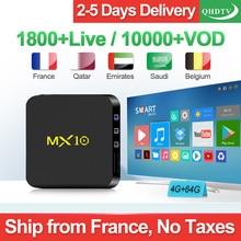 Arabic IPTV Box MX10 4G 64G Belgium Netherlands Android 9.0 4G 64G 2.4GHz WiFi IPTV France Algeria QHDTV Subscription 1 Year Box mx10 arabic france iptv subscription 4 64g android 9 0 rk3328 qhdtv 1 year iptv netherlands belgium italian algeria ip tv box