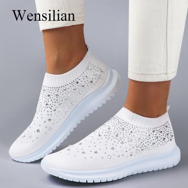 أحذية مفلكنة أحذية رياضية للنساء المدربين محبوك أحذية رياضية السيدات الانزلاق على جورب أحذية سباركلي كريستال Zapatillas Mujer عادية
