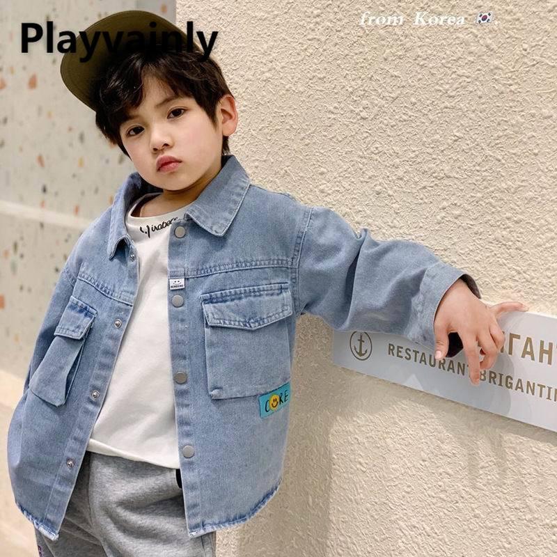 Новинка 2021, куртки для мальчиков, детские пальто, синяя джинсовая повседневная детская рубашка, пальто для мальчиков, детская одежда E20090