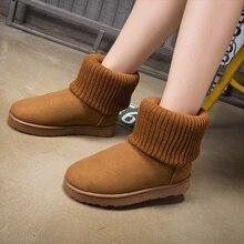 FEVRAL Botas de nieve para mujer, botines informales de felpa corta con piel para exteriores, zapatos para mujer de ante