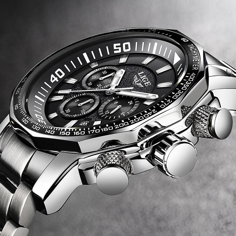 2020 LIGE Top Brand Luxury Mens Watches Full Steel Watch Male Military Sport Waterproof Watch Men Quartz Clock Relogio Masculino 1