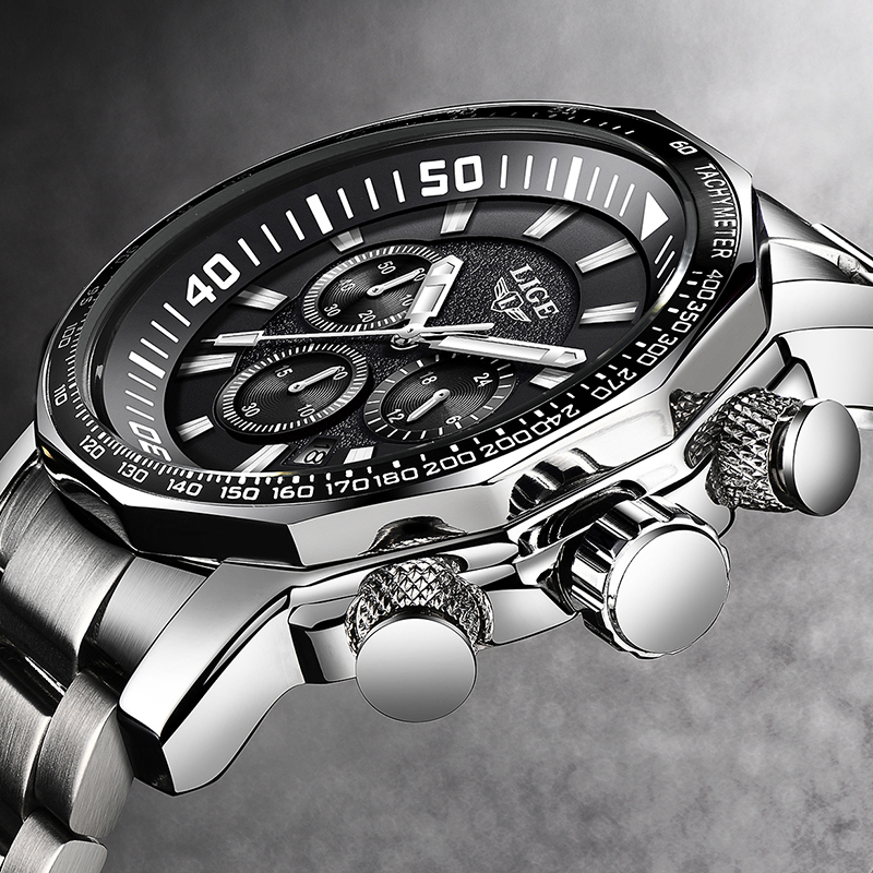 2020 LIGE Top Brand Luxury Mens Watches Full Steel Watch Male Military Sport Waterproof Watch Men Quartz Clock Relogio Masculino