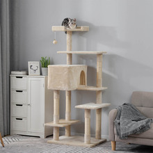 Contemporary Popular Cat Tree Sturdy Wear-resistant Belt Natural Sisal Pillar To Prevent Scratching Furniture Beige Cat Toy