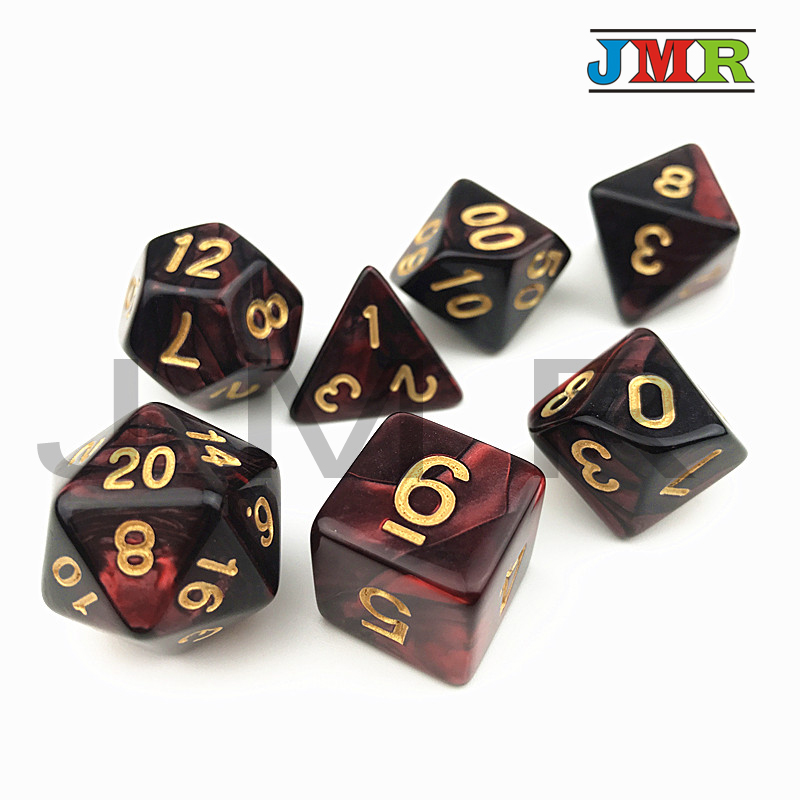 Red With Black Double Color Effect Polyhedron Role Playing Game For Dungeons And Dragons Cube Game,Rpg Game Dice Playing As Gift