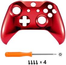 Dla microsoft Xbox One S i Xbox One X kontroler Chrome Red Edition przednia osłona skrzynki pokrywa wymiana płyty czołowej