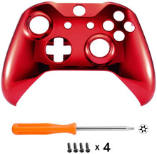 For Microsoft Xbox One S & Xbox One X Controller Chrome Red Edition Front Housing Shell Case Cover Faceplate Replacement