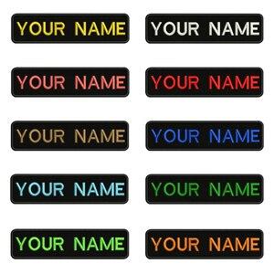 Image 1 - 10X2.5cm Ricamo Nome Personalizzato Testo Patch Strisce badge Iron On O Velcro Supporto Toppe E Stemmi Per I Vestiti Cappello Zaino BR 01A