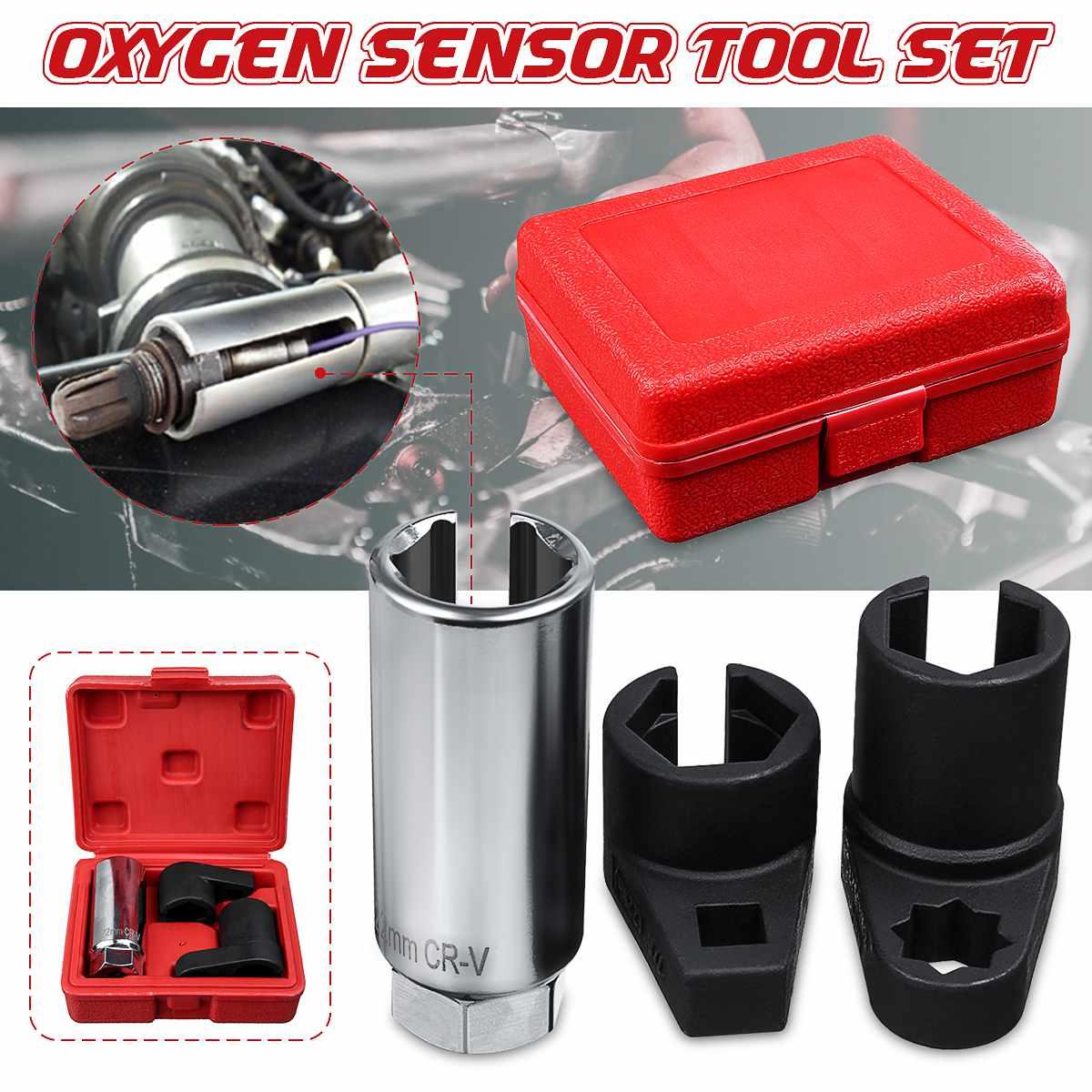 3pcs Oxygen Sensor Socket Wrench Tool Kit Oxygen Sensor Socket Install Removal Tools