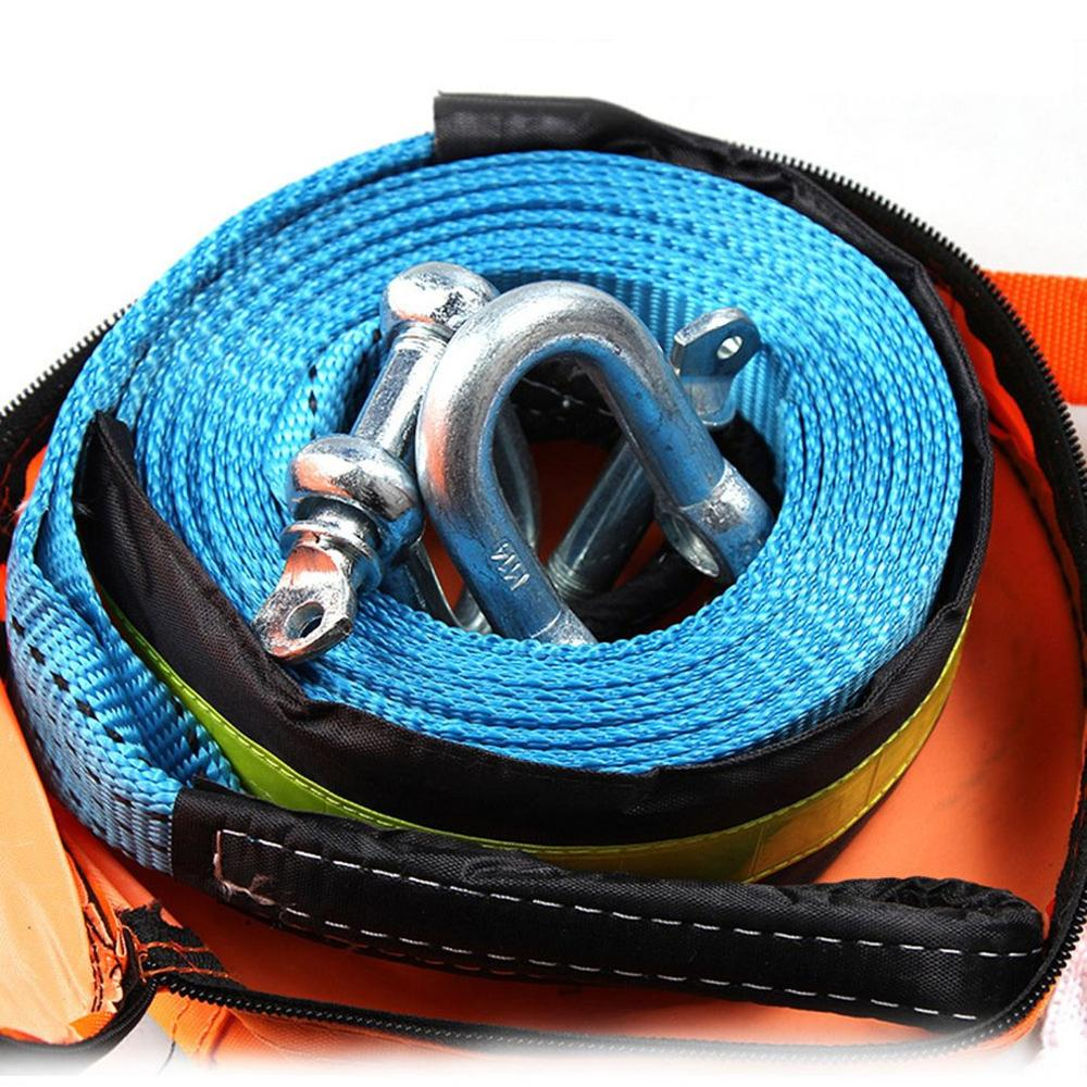 Automotive Polyester High Strength Tow Rope Off-Road Vehicle Reflective Traction Rope 5 Meters 8 Tons Widened Thick Pull Cart