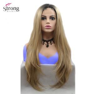 Image 5 - Strongbeauty peluca larga recta para mujer, pelo ombré negro/rojo, sintética, con encaje frontal