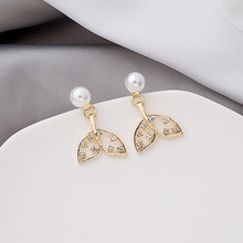Fairy Shiny Rhinestone Hollow Mermaid Tail Drop Earrings for Women Gold Color Pearl Statement Earrings Wedding Bridal Jewelry rhinestone pearl earrings for women gold hollow tassel drop statement earrings wedding party fashion jewelry