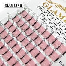 GLAMLASH 12 Linien Vorgefertigten Langen Stiel Volumen Wimpern Extensions breite fans 2d3d4d5d6d Wimpern Faux Nerz