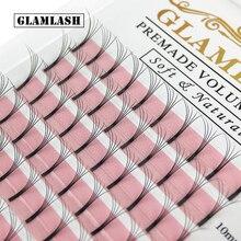 GLAMLASH 12 קווים Premade ארוך גזע נפח ריס הרחבות רחב אוהדי 2d3d4d5d6d ריסים פו מינק