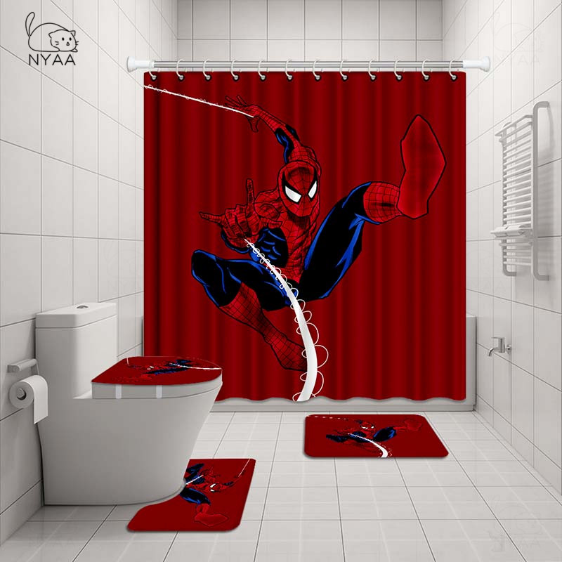 Nyaa 4 Pcs Spider Man Shower Curtain Pedestal Rug Lid Toilet Cover