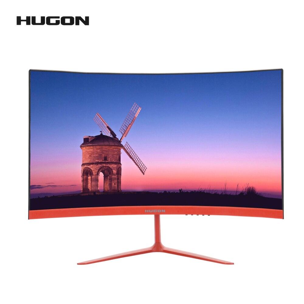 HUGON 24 дюйма 1920 × 1080p TFT/LCD изогнутый монитор ПК 75 Гц HD игровой дисплей Q24/Q27 экран для настольного компьютера VGA для интерфейса HDMI