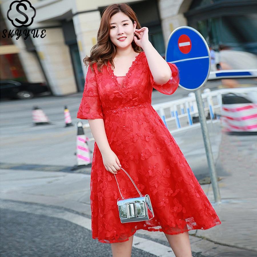 Skyyue   Evening     Dress   2019 Half-sleeve Short Robe De Soiree Lace V-Neck Women Party   Dresses   Plus Size Formal   Evening   Gowns T047