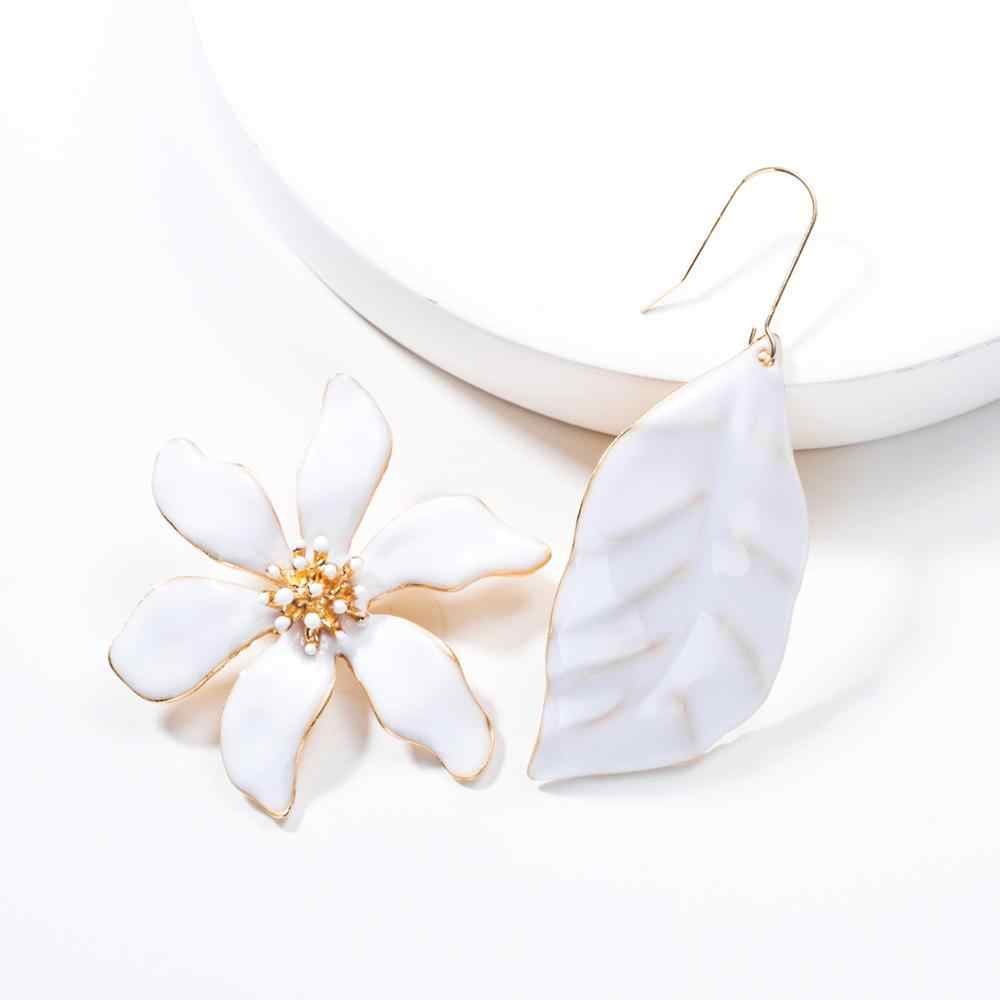Beautiful White Enamel Flower Earrings Asymmetry Metal Leaf Shaped Plant Drop Earrings For Women Unique Gifts Accessories
