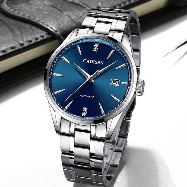 Oryginalna CADISEN Top luksusowa marka mężczyźni pełna stal automatyczny mechaniczny dla mężczyzn selfwind 50M wodoodporna zakrzywiona powierzchnia ultracienki zegarek