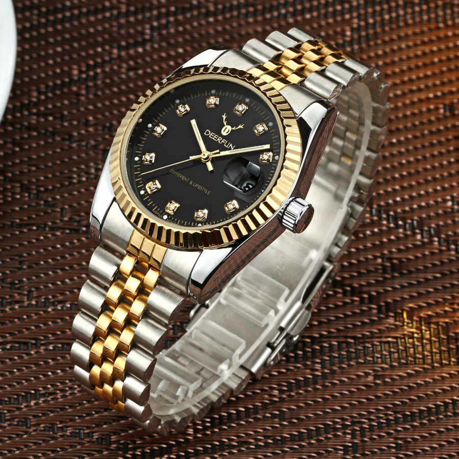 Luxury Gold Watch Men Rolexable Bezel Sapphire Glass Stainless steel Band Women Quartz Wristwatches Can Swimming