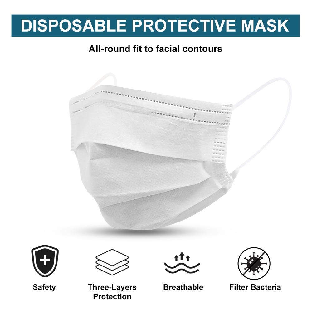 10PCS 20PCS 50PCS Disposable Face Mask 3 Layer Protective Earloop Anti Dust Facial Cover Masks