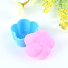 10Pcs Color Random Flower Cake Mold Cupcake Liner Mold Tool Stencil Form Pastry Chocolate Muffin Baking Silicone Biscuit Kitchen(China)