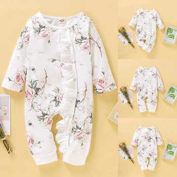 0-18M Baby Girls Romper Autumn Baby girl Cotton print ruffled long-sleeved O-Neck jumpsuit Newborn Toddler Clothes Outfits D35 baby girl clothes summer ruffled sleeves blue white plaid baby romper newborn toddler kids jumpsuit sunsuit outfits