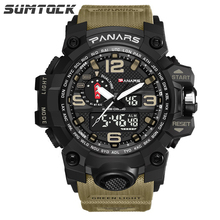 Sumtock Military Men 39 s Watches Multi-function Alarm Time Zone Waterproof Double Display Digital Big Dial Man Watch