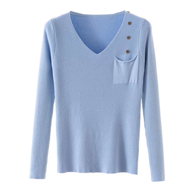 V-Neck Sweater Jumper Pullover Elasticity Soft-Knitted Sexy Femme Winter Women New Hiver
