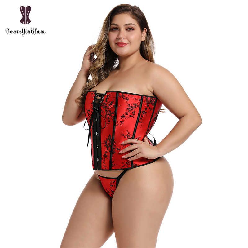 בתוספת גודל Steampunk גותי Bustiers ומחוכי מותן Cincher מחוך אדום Shapewear תחרה עד גרום מחוך לנשים 839