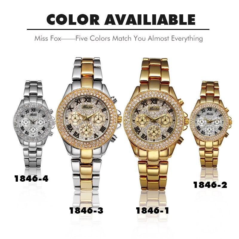 Image 5 - MISSFOX femmes montres étanche faux chronographe luxe affaires montre à Quartz décontracté or chiffres romains femme montre braceletMontres femme   -