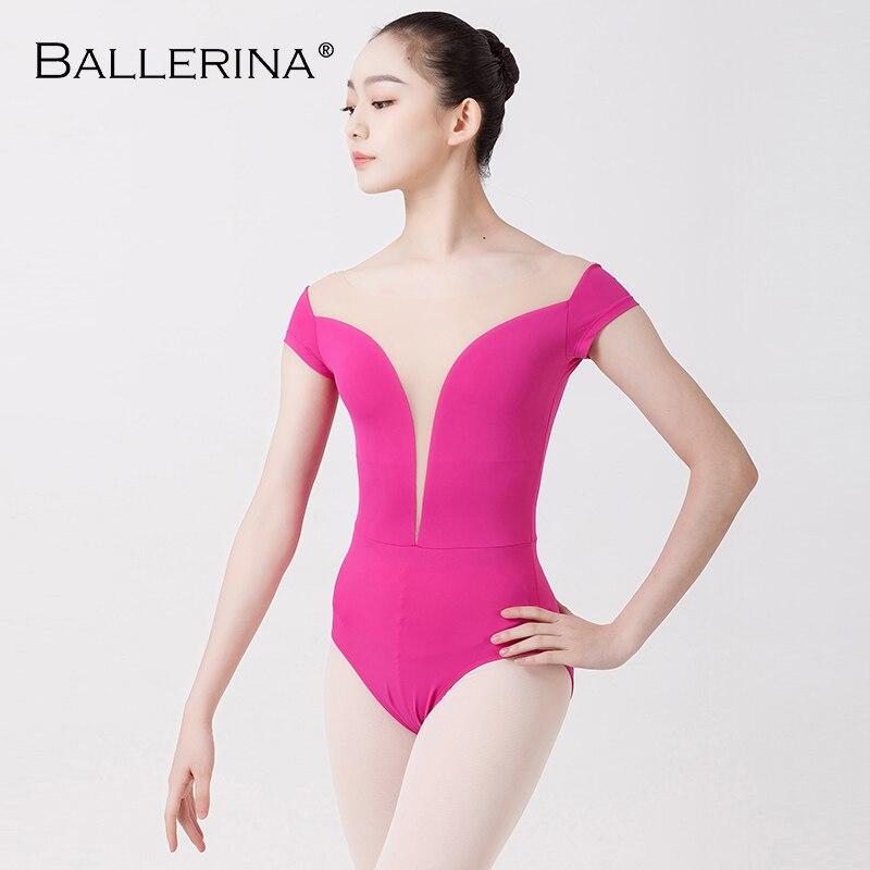 Ballet Leotard Women Sexy Dance Professional Training Gymnastics Deep V Half Sleeve Adult Leotards Ballerina 3525