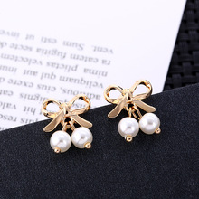 Japanese and Korean New Bow and Pearl Earrings Sen Senior High-end Design Temperament Simple Female Earings Fashion Jewelry цена 2017