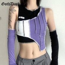 Goth Dark Y2k Style Fashion Color Blocking T-shirts Punk Patchwork Hip Hop Sleeve Separate Crop T-shirt Autumn O-neck Women Tops