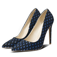 Fashion Peacock Pattern Women's Shoes Super High Heels Pumps Slip On Pointed Toe Summer Spring Ladies Shoes Black Blue Gray
