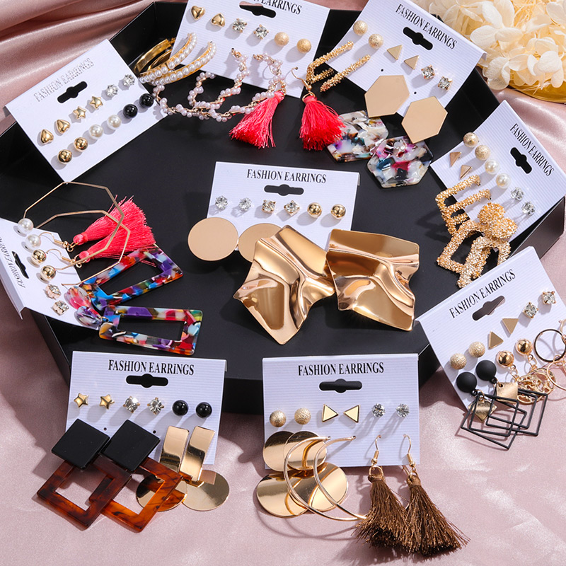 6 Pairs/Set Vintage Acrylic Earring Statement Tassel Earrings Korean Dangle Drop Earrings for Women 2020 Fashion Earings Jewelry